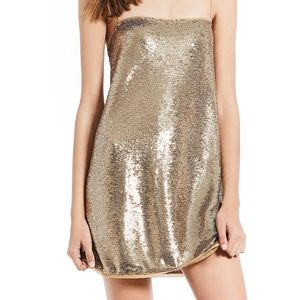 Free People Gold Sequin Mini Dress